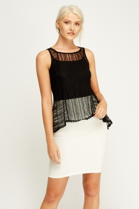 Mesh Overlay Sleeveless White Top