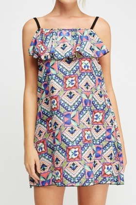 Mixed Print Flared Dress