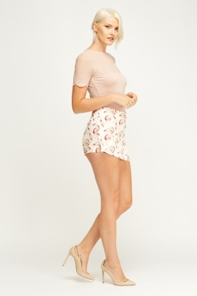 Printed Floral Flare Shorts