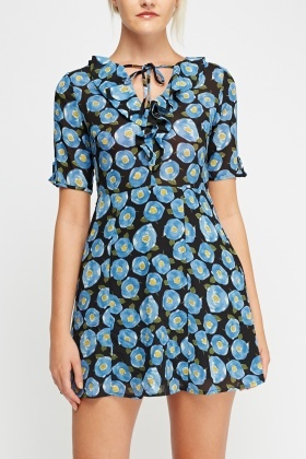 Printed Sheer Ruffled Dress