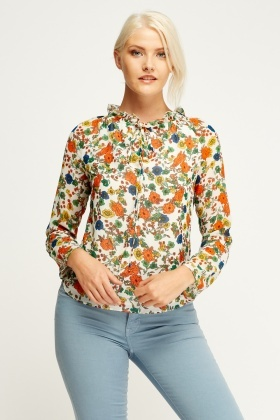 Ruched Printed Blouse