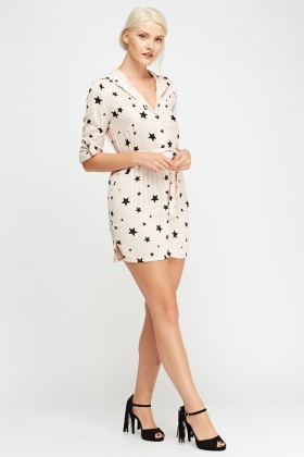 Star Printed Shirt Dress