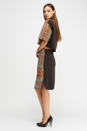 Aztec Printed Front Skirt
