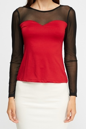 Mesh Insert Sweetheart Top