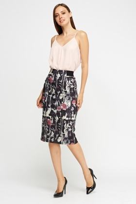 Printed Pencil Midi Skirt