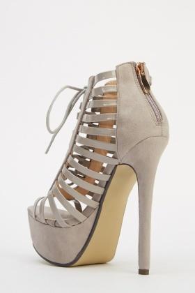 Contrast Grey Strappy Platform Heels - Just £5