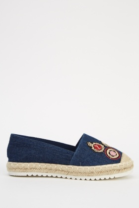 Espadrille Denim Embroidered Shoes