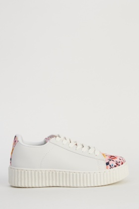Floral Insert Flatform Trainers