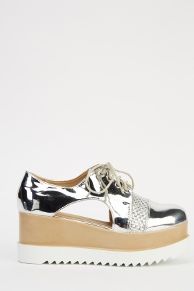 Holographic Cut Out Platform Shoes