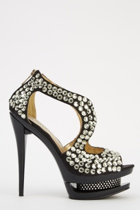 LYDC London Cut Out Embellished Heels