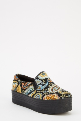 Paisley Print Platform Shoes
