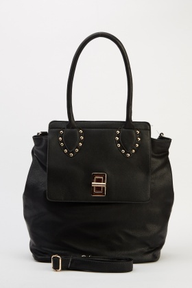 Studded Strap Faux Leather Bag