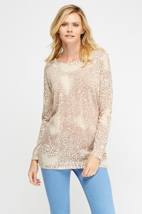 Animal Print Long Sleeve Top