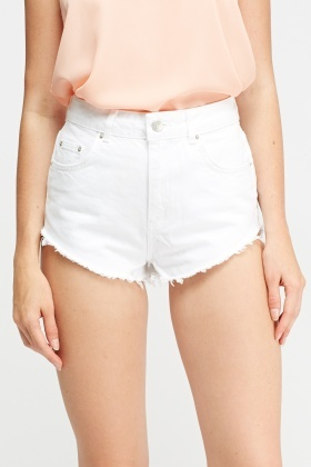 Frayed Hem White Jeans Shorts