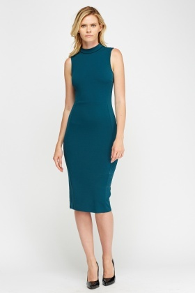 High Neck Textured Midi Dress
