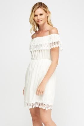 Off Shoulder Crochet Trim Dress Just 5