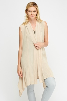 Pleated Sleeveless Longline Gilet