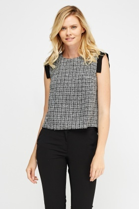 Woven Contrast Top