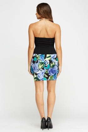 Bandeau Box Pleat Skirt Dress