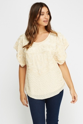 Beaded Contrast Top