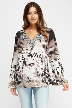 Beaded Neck Printed Blouse