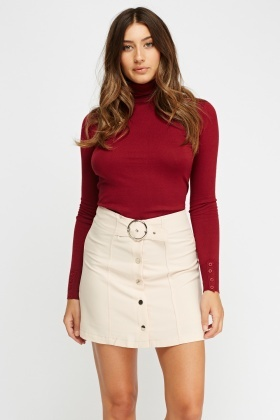 Belted Button Up Skirt