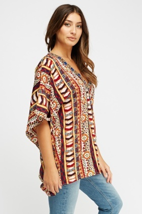 Embellished Neck Printed Top
