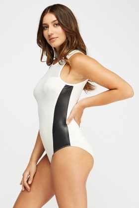 Faux Leather Insert Contrast Bodysuit