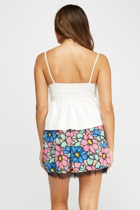 Floral Pleated Mini Skirt