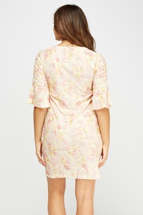 Lace Overlay Floral Dress