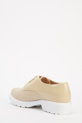 Beige Contrast Lace Up Shoes