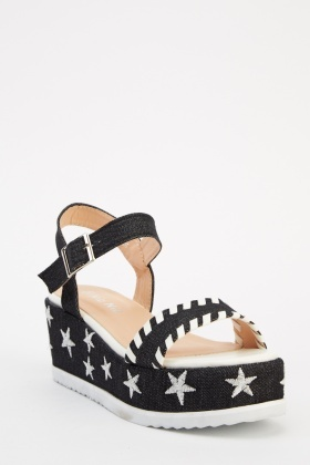 Denim Star Platform Sandals