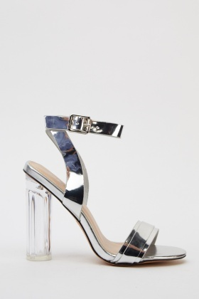 PVC Ankle Strap Heeled Sandals - Just £5