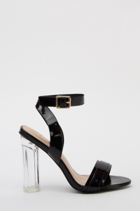 PVC Ankle Strap Heeled Sandals
