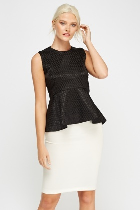 Black Formal Peplum Top