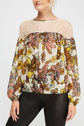 Contrast Floral Printed Ruched Top