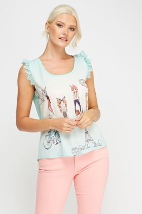 Dip Hem Sleeveless Printed Top