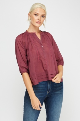 Layered Hem Cotton Top
