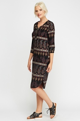 Paisley Printed Shift Dress