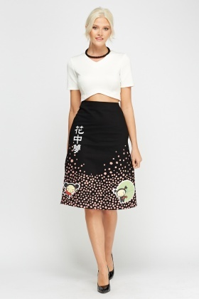 Printed Zip Side Midi Skirt