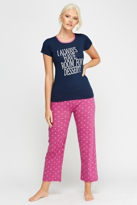 Top And Trousers Contrast Pyjama Set