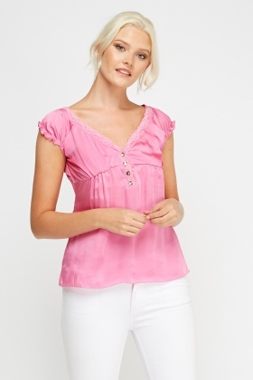 Button Detail Silky Top