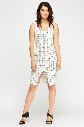 Check Grid Printed Dress
