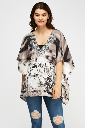 Embellished Mixed Print Black Top