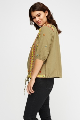 Embroidered Panel Casual Top