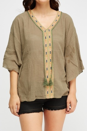 Embroidered Panel Cover Up Top