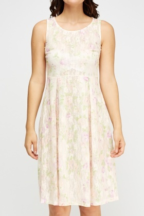 Lace Overlay Midi Swing Dress