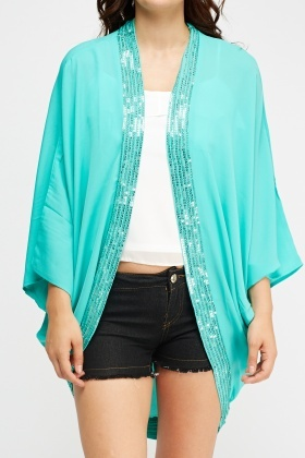 Sequin Trim Sheer Cover Up