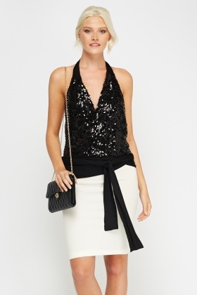 Sequin Wrap Black Top
