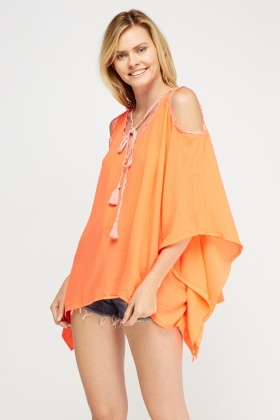 Asymmetric Sequin Trim Cover Up Top